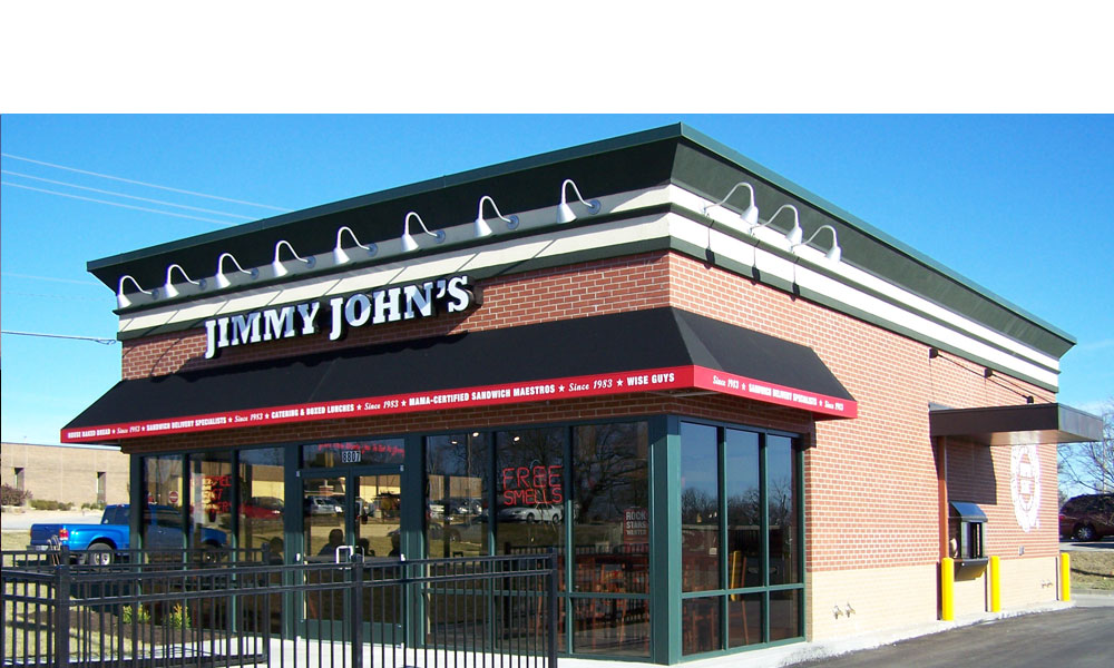 Jimmy John's Gourmet Sandwiches in Parkville Missouri a new free standing retail restaurant building done by Luke Draily Consgtruction General Contractor.